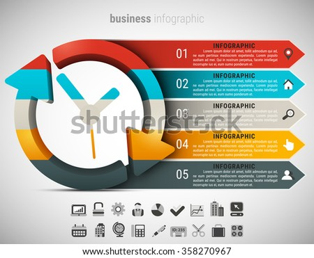 Creative business infographic made of clock. Vector illustration.  - stock vector