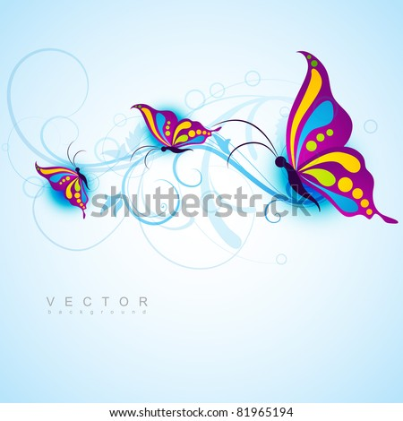 creative butterfly style beautiful vector design - stock vector