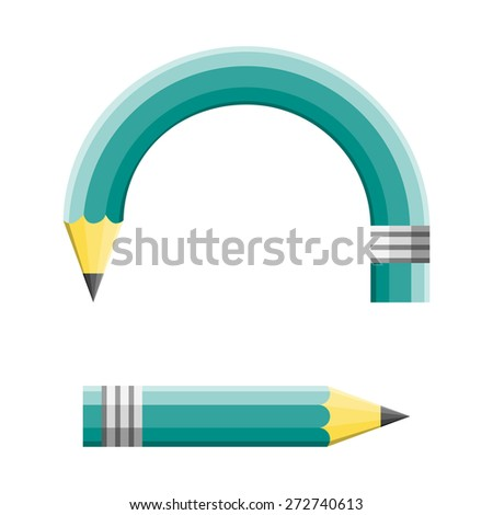 Creative change and changing a planned strategy as a green pencil adapting to changes by curving and pointing to a different goal direction and other strategy as an education and business concept. - stock vector
