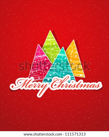 Creative Christmas tree card - stock vector