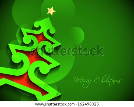 creative Christmas tree on elegant green color background. vector illustration - stock vector