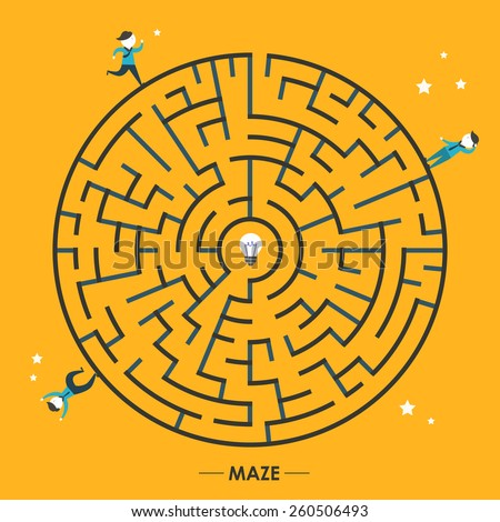 creative circular maze with bulb and businessman elements over yellow background - stock vector