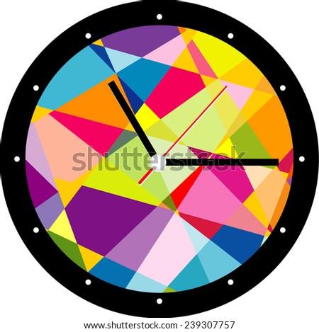 Creative clock face geometry design. - stock vector