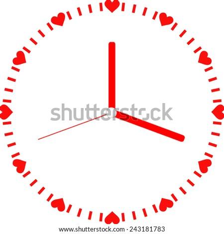 Creative clock heart design. Valentines day. - stock vector