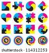 Creative CMYK logo or icon design collection over white, vector illustration - stock vector