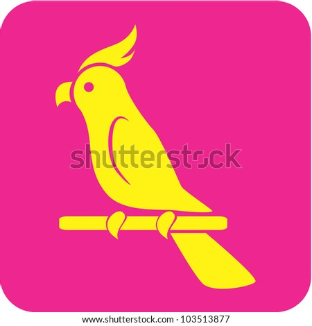 Creative Cockatoo Parrot Icon - stock vector