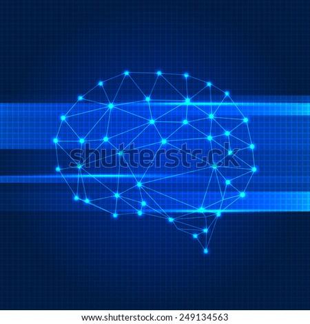 Creative color concept of the human brain - stock vector