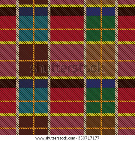 Creative color palette checkered plaid. Seamless pattern with stripes and diagonal hatching. Retro textile collection. Red, brown, green with beige and yellow stripes. Backgrounds & textures shop. - stock vector