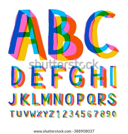 Creative colorful alphabet and numbers, vector illustration. - stock vector