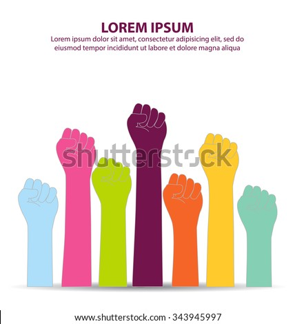 Creative Colorful Fist Hand - stock vector