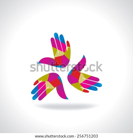 creative colorful hand business icon - stock vector