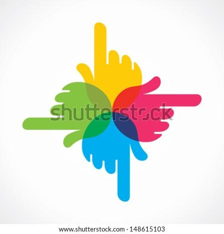 creative colorful hand  icon design vector - stock vector