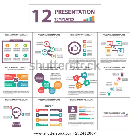 Creative Colorful Multipurpose Multicolor presentation template brochure flyer flat design set - stock vector