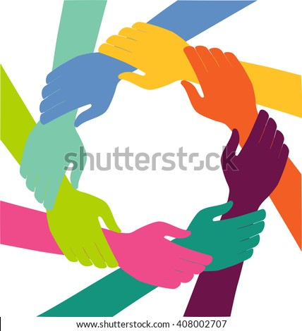 Creative Colorful Ring of Hands Teamwork Concept - stock vector