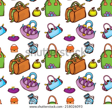 creative colorful seamless texture with fashion woman bags - stock vector