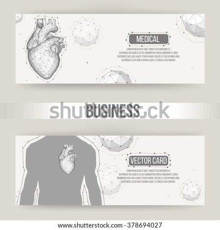 Creative concept Background of the human heart. Vector Illustration eps 10 for your design. Polygonal design style letterhead and brochure for business. - stock vector