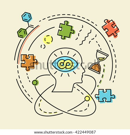 Creative concept business idea, connection, discovery, innovation and solution, outline design, vector illustration - stock vector