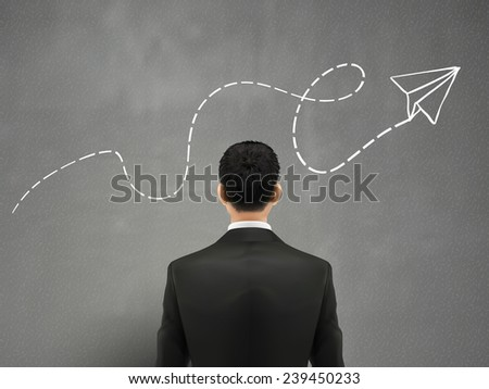creative concept: businessman with hand drawn paper airplane  - stock vector