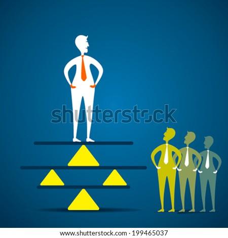 creative concept of balance , men balancing in business concept vector - stock vector
