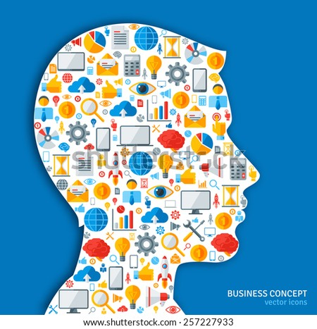 Creative concept of Business Processes. Vector illustration. Man silhouette with Business icons and symbols in his head. Brainstorming process. Business Idea Generation. - stock vector