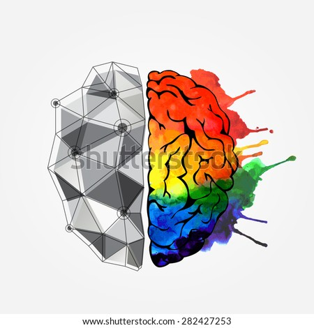 Creative concept of the human brain. Left and right side. Brain left and right side hemispheres concept. Vector illustration    - stock vector