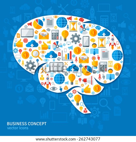 Creative Concept of the Human Brain. Vector Illustration. Brain with Flat Business Icons. Brainstorming process. Business Idea Generation. - stock vector