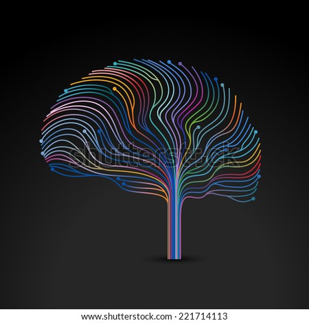 Creative concept of the human mind, vector illustration - stock vector