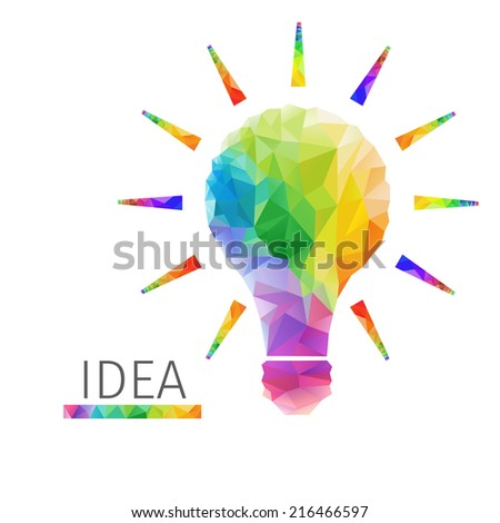 Creative concept of the idea light bulb consists of colorful polygons, vector - stock vector