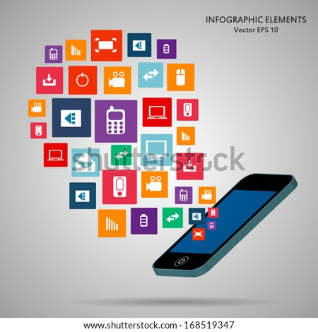 Creative concept phone with cloud of colorful application icon. Vector illustration creative template design, Business software and social media  - stock vector