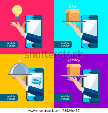 Creative concept, restaurant cloche in hand, app service, enjoy your meal. Mobile service, delivery service, buon appetito - stock vector