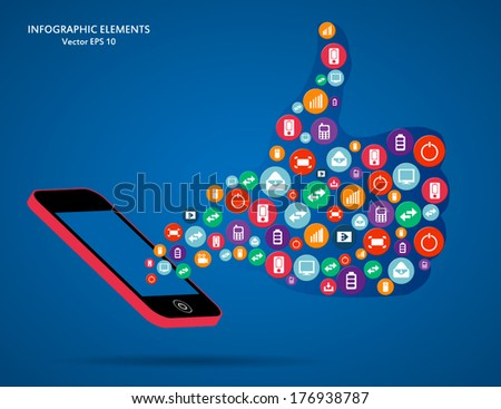 Creative concept vector phone with icons for Web and Mobile Applications isolated on background. Vector illustration template design, Business infographic and social media, icon. - stock vector