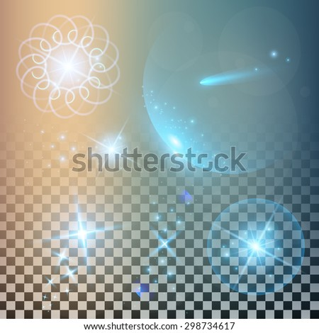 Creative concept Vector set of glow light effect stars bursts with sparkles isolated on black background. For illustration template art design, magic flash energy ray. - stock vector