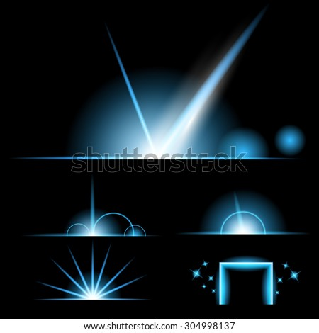 Creative concept Vector set of glow light effect stars bursts with sparkles isolated on black background. For illustration template art design, banner for Christmas celebrate, magic flash energy ray - stock vector