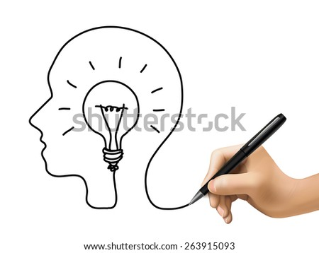 creative concept with a bulb inside human brain drawn by 3d hand - stock vector