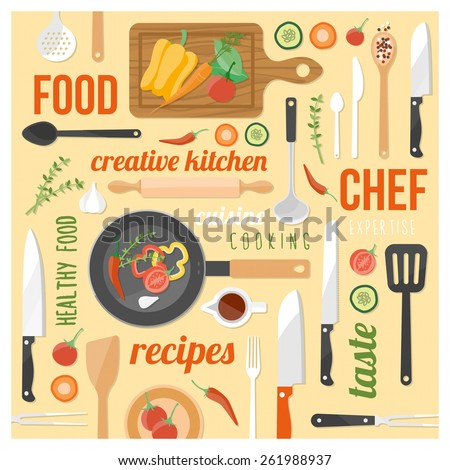 Creative cooking background with kitchen tools, food ingredients and words on a yellow background in a square frame - stock vector
