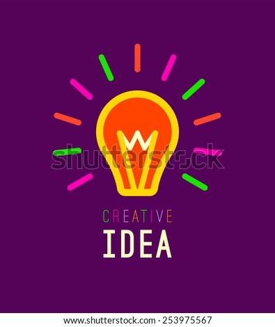 Creative, Creativity, Ideas design concept with light bulb on vivid purple background. Vector illustration. Flat Outline Icon of light bulb.  - stock vector