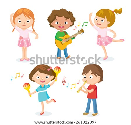 creative dancing kids and kids with musical instruments - stock vector