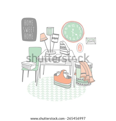 Creative design furniture set. Deco  - stock vector