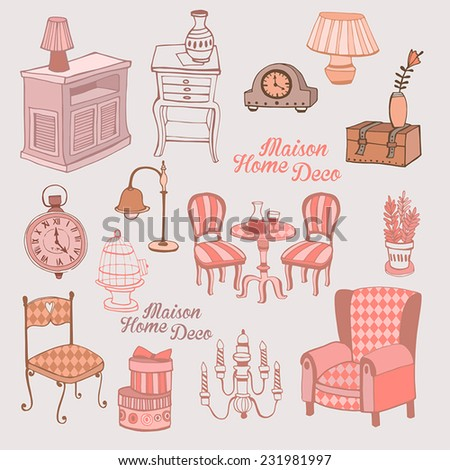 Creative design furniture set. Vector background. - stock vector