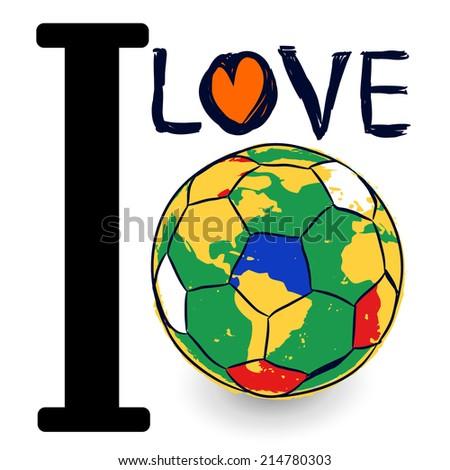 creative design i love football concept - stock vector