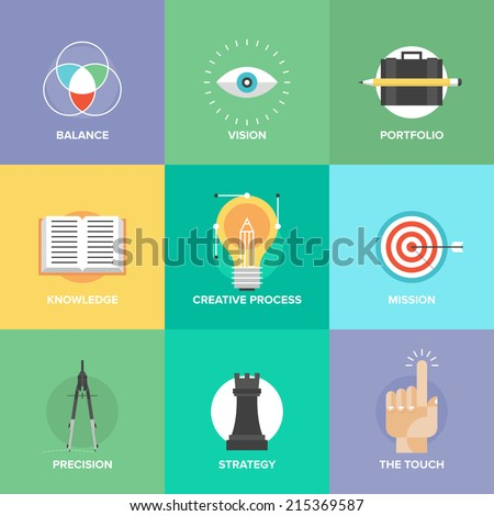 Creative design process concept with web studio development elements, business vision, marketing strategy, smart solution and success ideas. Flat design icons modern style vector illustration set. - stock vector