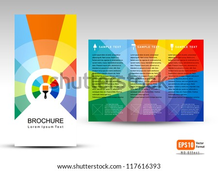 creative design vector brochure Tri-fold Layout Design Template colorful lines on vivid background - stock vector