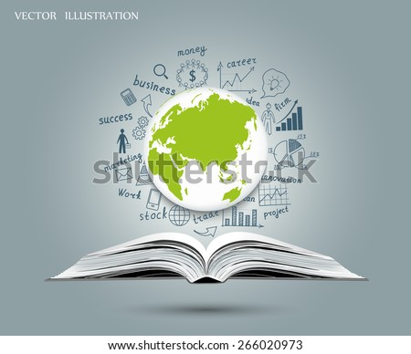 Creative drawing globes, graphs and charts business strategy plan concept idea on an open book. Vector illustration modern template design - stock vector
