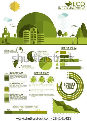 Creative ecological infographic elements with city view and various statistical graphs and charts. - stock vector