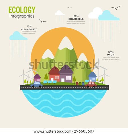 Creative ecological infographic template layout with view of urban city, solar panel and vehicles running on road. - stock vector