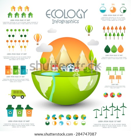 Creative ecology template layout with glossy city view and various statistical graphs and charts. - stock vector