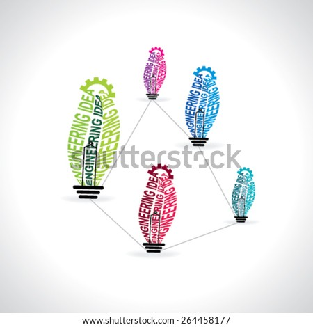 creative engineering idea bulb concept over wheel  - stock vector