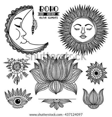 Creative ethnic set with ornamental Moon, Sun, Arrows with Flower, Lotus and Eye, Hand drawn boho style illustration, Stylish hippie design elements. - stock vector