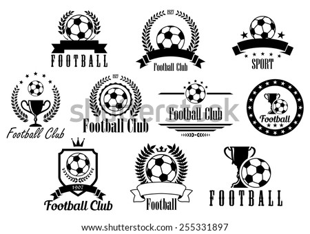 Creative football or soccer black and white emblems, icons, symbols and logos with ball, trophy, cup, wreath, ribbon, banner - stock vector