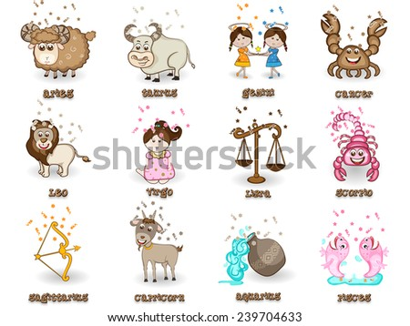 Creative funny twelve Zodiac or Horoscope sign on beige background. - stock vector